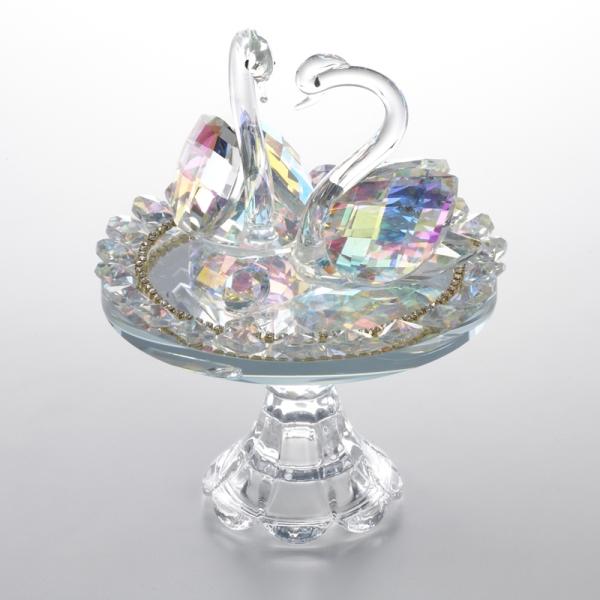 ガラス クリスタル オブジェ 置物 ディスプレイ 飾り物 インテリア 硝子 白鳥 売れ筋ランキング クリスタルオブジェ かわいい 安い おしゃれ ダブル スワン