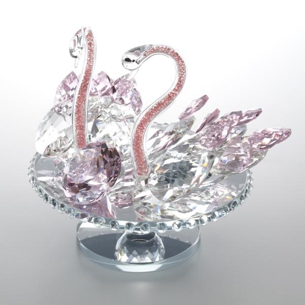 クリスタルオブジェ スワン ピンク 白鳥 ペア 置物 オブジェ ガラス 硝子