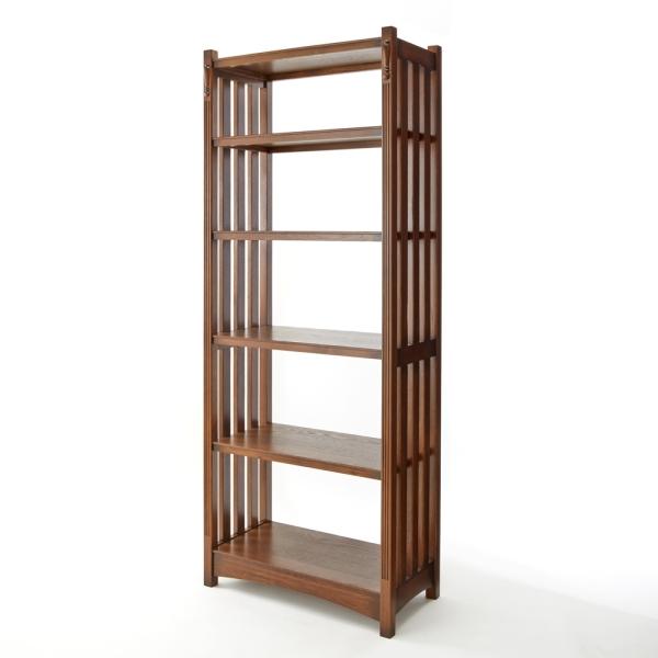本棚 おしゃれ Old British style オーク材 無垢 ブラウン 5段シェルフ 飾り棚 本棚 コレクションケース 収納棚 木製 インテリア アンティーク