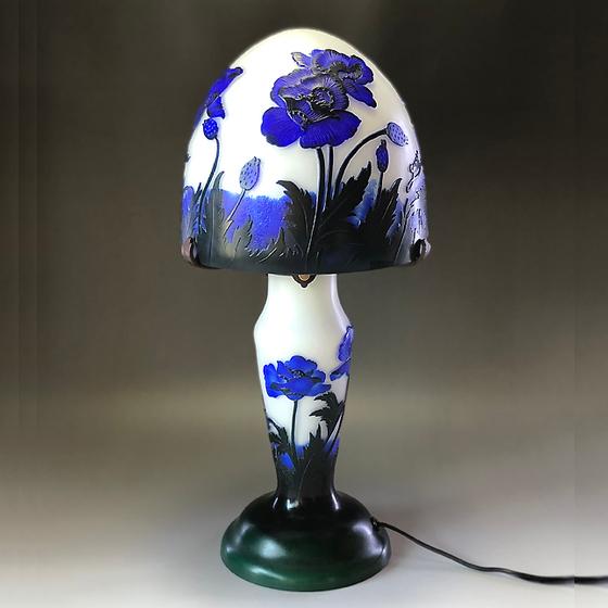 ガレ テーブルランプ ガレ調ランプ ポピー ブルー 花柄 硝子工芸 間接照明 おしゃれ ギフト