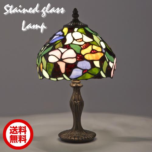ステンドグラスランプ テーブルランプ アンティーク 花柄 グリーン ステンドランプ ステンドガラス 卓上照明 間接照明