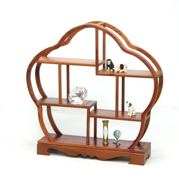 飾り棚 和風 和室 床の間 梅型 大梅 木製 珍品棚 盆栽棚 違い棚 和家具 玄関 シェルフ コレクションラック 和のコレクション棚