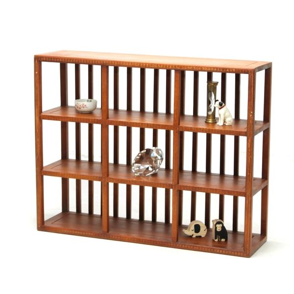 飾り棚 枡格子 和風 和室 床の間 おしゃれ 珍品棚 盆栽棚 和家具 木製 シェルフ ディスプレイラック コレクションラック