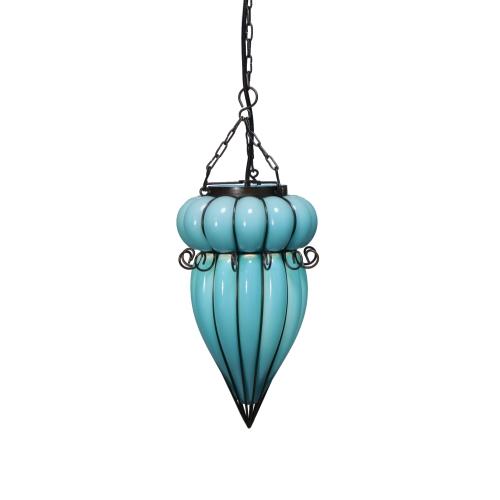 ペンダントライト アイアン ガラス 1灯 おしゃれ スモーク ブルー ハンギングランプ 吊下げ 吊り型 天井照明