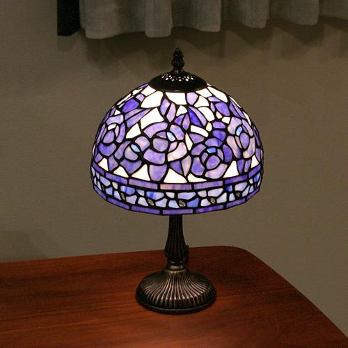 ステンドグラスランプ テーブルランプ アンティーク ブルーローズ S 薔薇 青 ステンドランプ ステンドガラス 卓上照明 間接照明