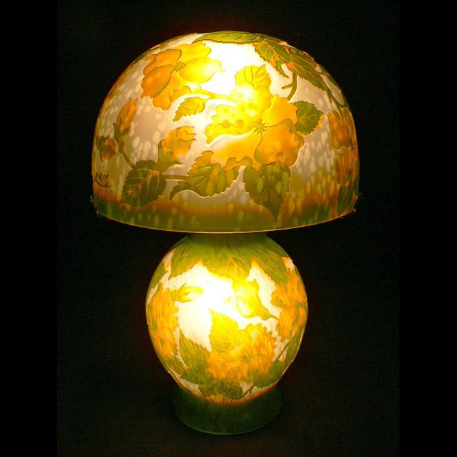 ガレ テーブルランプ ガレ調ランプ ノウゼンカズラ 花柄 硝子工芸 間接照明 おしゃれ ギフト