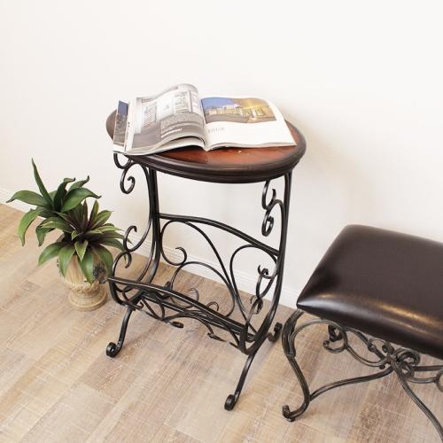 猫足 マガジンラック サイドテーブル クラシカル アイアン 猫脚 おしゃれ 飾台 花台