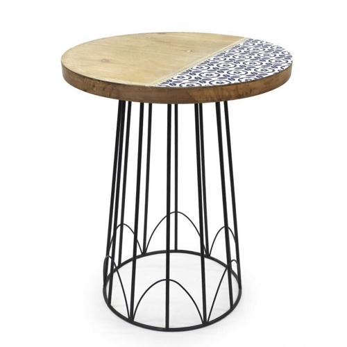 ラウンドテーブル おしゃれ 花台 飾台 高さ46cm 木製 丸形 テーブル ラウンド 授与 アイアン サイドテーブル 贈呈