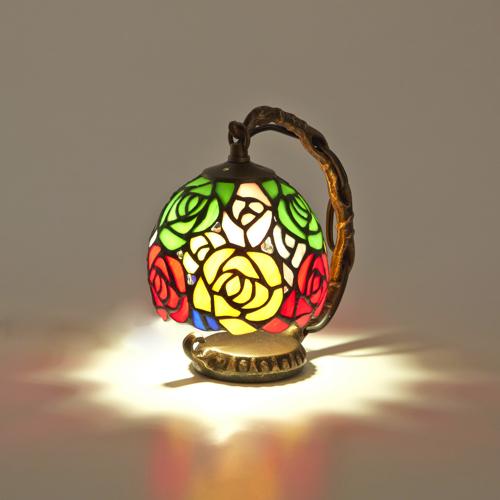 専用のLED電球付き ステンドグラスランプ 照明 人気の製品 おしゃれ アンティーク 卓上ライト 安心の実績 高価 買取 強化中 ガラス スタンドライト LED電球付き ミックス ランプ ステンドグラス ローズ 薔薇