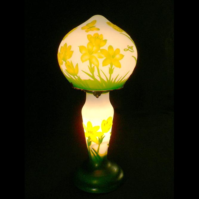 ガレ調ランプ クロッカス 被せガラス テーブルランプ 卓上照明 間接照明 お祝い プレゼント インテリア