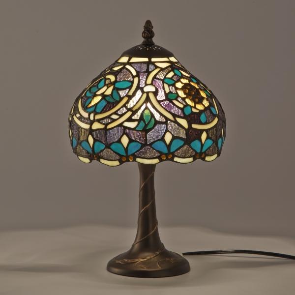 ステンドグラス ランプ ライラ ティファニー 卓上ライト スタンド照明 テーブルランプ アンティーク調 デスクランプ 寝室 ナイトランプ