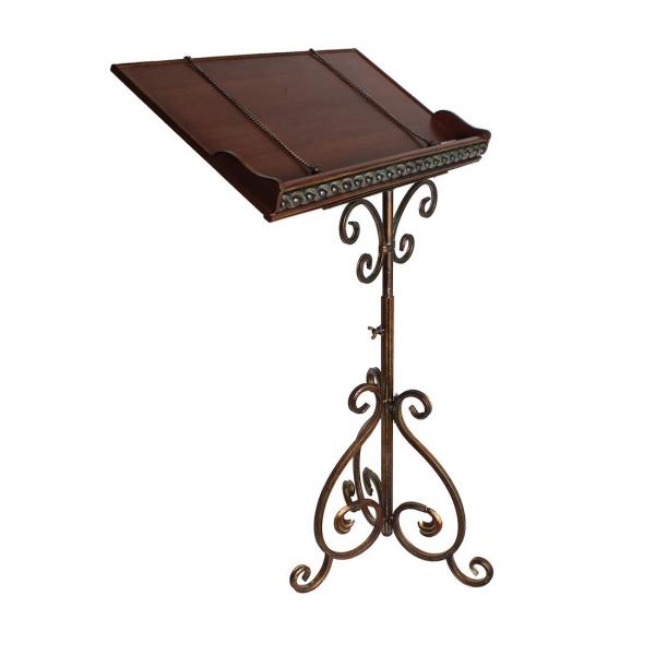 メニュー台 メニュー立て 譜面台 アイアンフレーム 木製枠 高さ調節可 アンティーク調 店舗什器