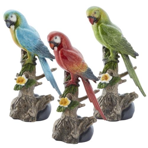 オブジェ インコ 3羽セット L 鳥 バード レジン製 置物 ディスプレイ プレゼント ギフト インテリア
