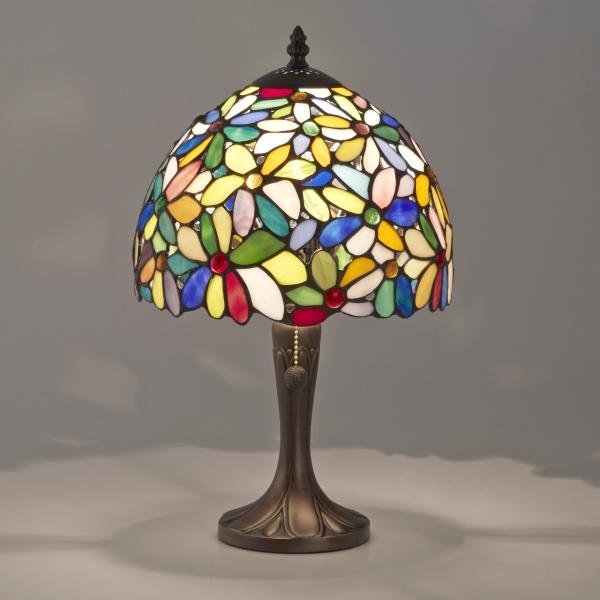 ステンドグラスランプ アンティーク カラフルシェード ハナハナ 花柄 LED対応 卓上ライト スタンドライト ティファニーランプ ナイトランプ 寝室 玄関