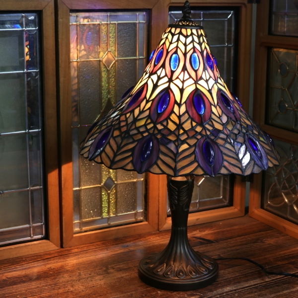 ステンドグラスランプ ピーコック アメリカンガラス テーブルランプ ガラスシェード ステンドグラス ライト 卓上照明