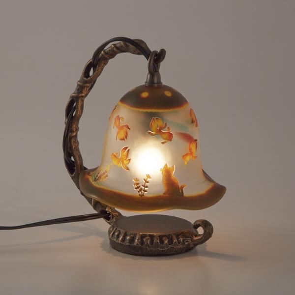 綺麗なガラス工芸品 サンドブラスト ArtMirage 吊り型ランプ テーブルランプ 卓上ライト 猫と金魚
