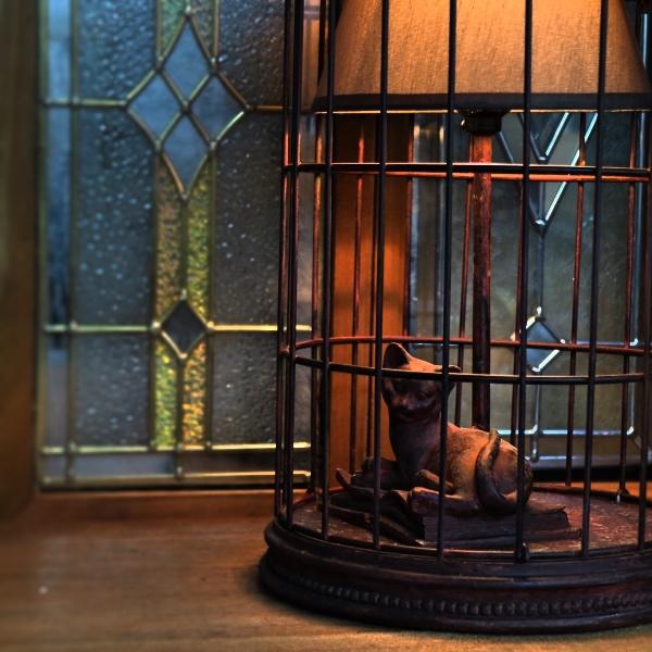 寝そべりキャット cat バードゲージランプ 鳥かご 吊下げ 置き型 照明器具 アジアン アニマル 猫 ねこ お洒落 テーブルランプ 照明器具 間接照明 ディスプレイ