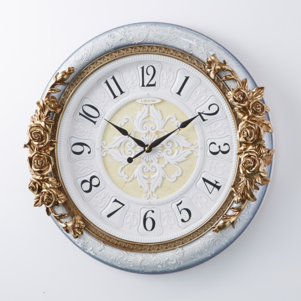 掛時計 音がしない おしゃれ 連続秒針 掛け時計 ウォールラウンドクロック フラワー 薔薇 バラ 壁掛け時計 インテリア