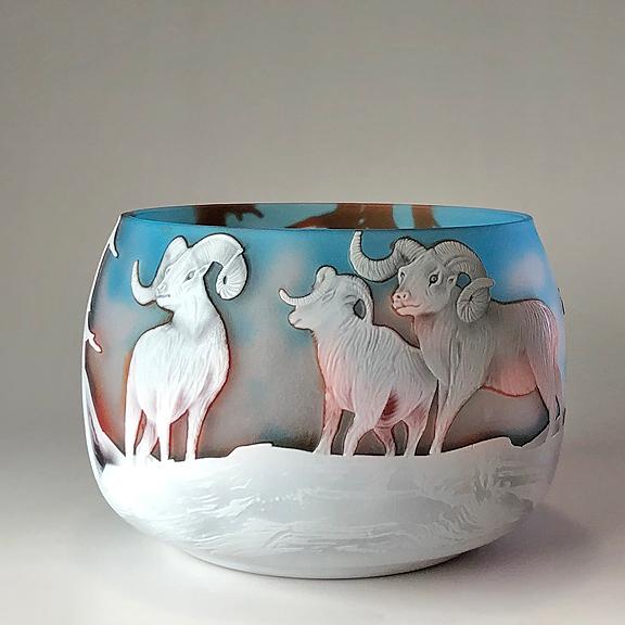 ガレ調 ガラス花瓶 羊 ドールシープ アニマル柄 ガラス製 花入 綺麗 お洒落 おしゃれ 小型 インテリア オブジェ 飾り ギフト プレゼント