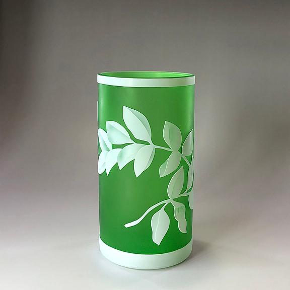ガレ調 ガラス花瓶 白膠手紅葉 ガラス製 花入 綺麗 お洒落 おしゃれ 小型 インテリア オブジェ 飾り ギフト プレゼント