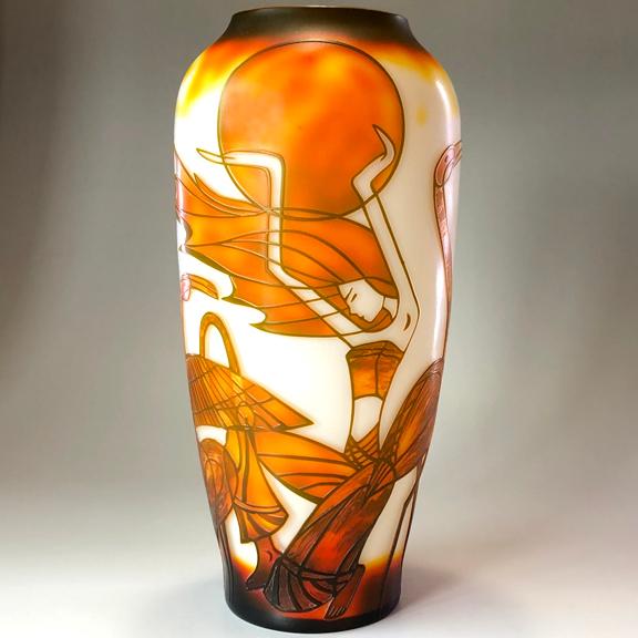 ガレ調 ガラス花瓶 アールデコ 鳥 女性 ガラス製 花入 綺麗 お洒落 おしゃれ 中型 インテリア オブジェ 飾り ギフト プレゼント