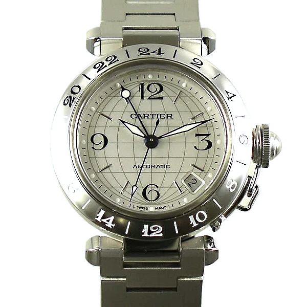 buy popular 56fdb 2ed03 卡地亞CARTIER pasha C meridian GMT銀子W31078M7新型小日期35mm