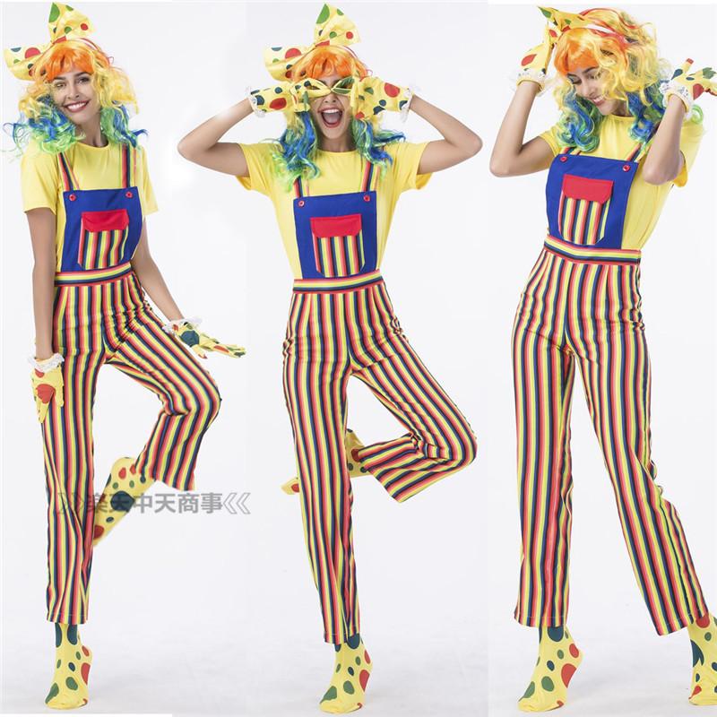 【chuutenn】ピエロ カラフル 欧米 cosplay ハロウィン イベントに大人気 舞台劇 大人用 コスチューム コスプレ衣装 仮装 文化祭 忘年会 舞台衣装 演出服 レディース パーティー用 女性用