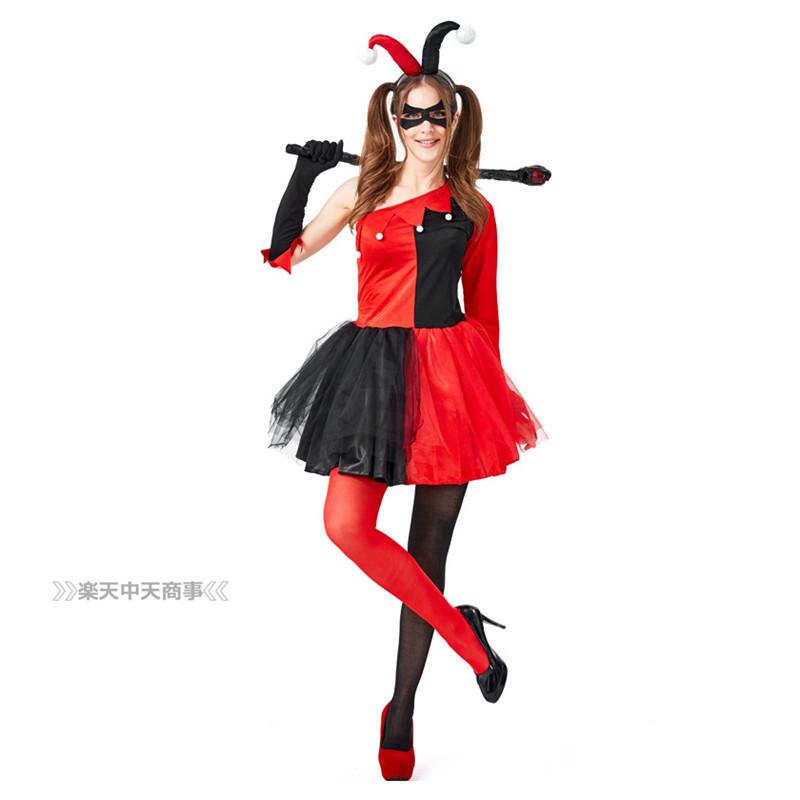 【chuutenn】ハロウィン コスプレ ピエロ セクシー ワンピース 欧米 cosplay アニメ 舞台劇 大人用 コスチューム コスプレ衣装 仮装 文化祭 忘年会 舞台衣装 演出服 レディース パーティー用 女性用 可愛い イベントに大人気