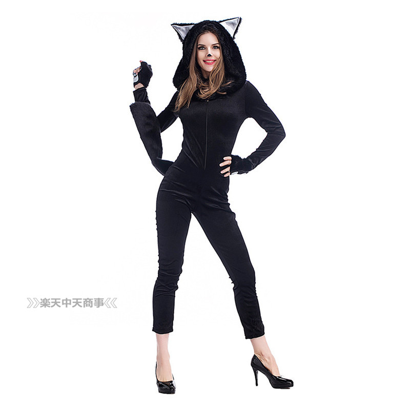 【chuutenn】ハロウィン コスプレ 猫耳 ねこ 猫の手 手袋 尻尾 黒猫 ネコ 舞台衣装 セクシー  可愛い 舞台劇 大人用 コスチューム コスプレ衣装 仮装 文化祭 忘年会 演出服 レディース パーティー用 女性用