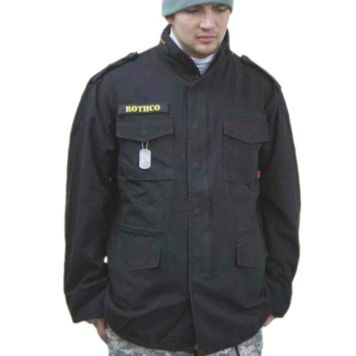 米軍レプリカ M-65 フィールドジャケット 黒カラー本格ビンテージ加工 ロスコ ミリタリー Field Jacket