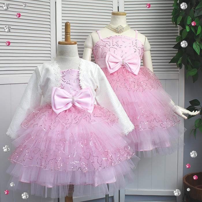 d8c937647f9 Glittering pink pasties children dress pink peach sequin Ribbon children  dress wedding presentation kabukichō children dress kids dress children  formal Tutu ...