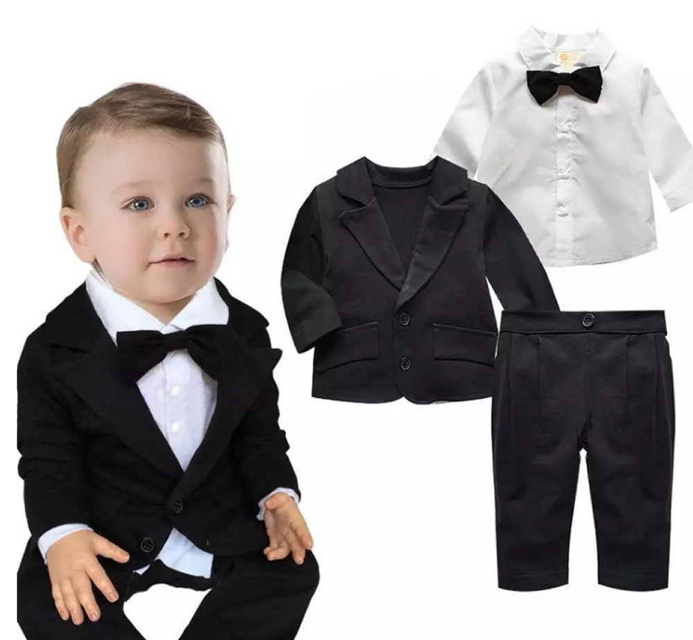 4072b333296bd Boys suit baby suit 3-point set jacket blouse pants formal boys formal kids clothes  baby Tuxedo baby suit baby newborn infant birth celebration 70 80 90