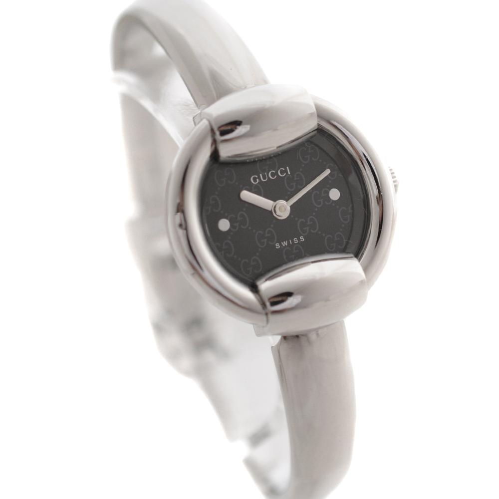 【中古】GUCCI グッチ バングルウォッチ 腕時計 レディース クオーツ GG柄 ブラック文字盤 シルバー 1400L