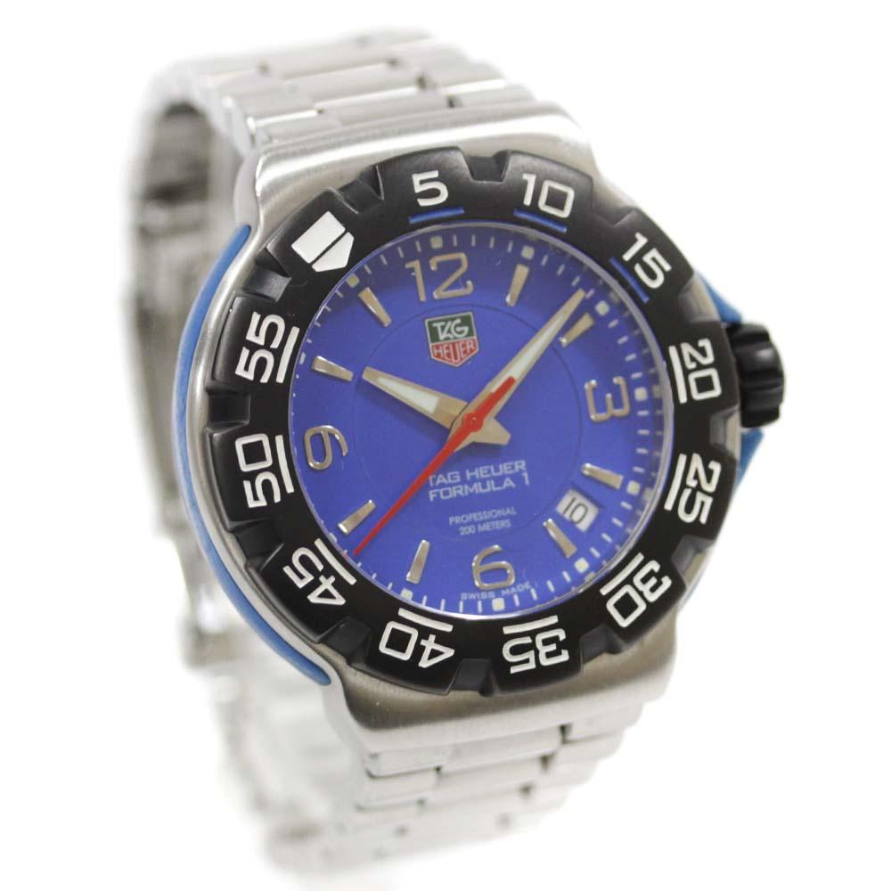 【中古】TAG HEUER タグホイヤー フォーミュラ1 腕時計 メンズ クオーツ ブルー文字盤 シルバー ブラック WAC1112.BA0850