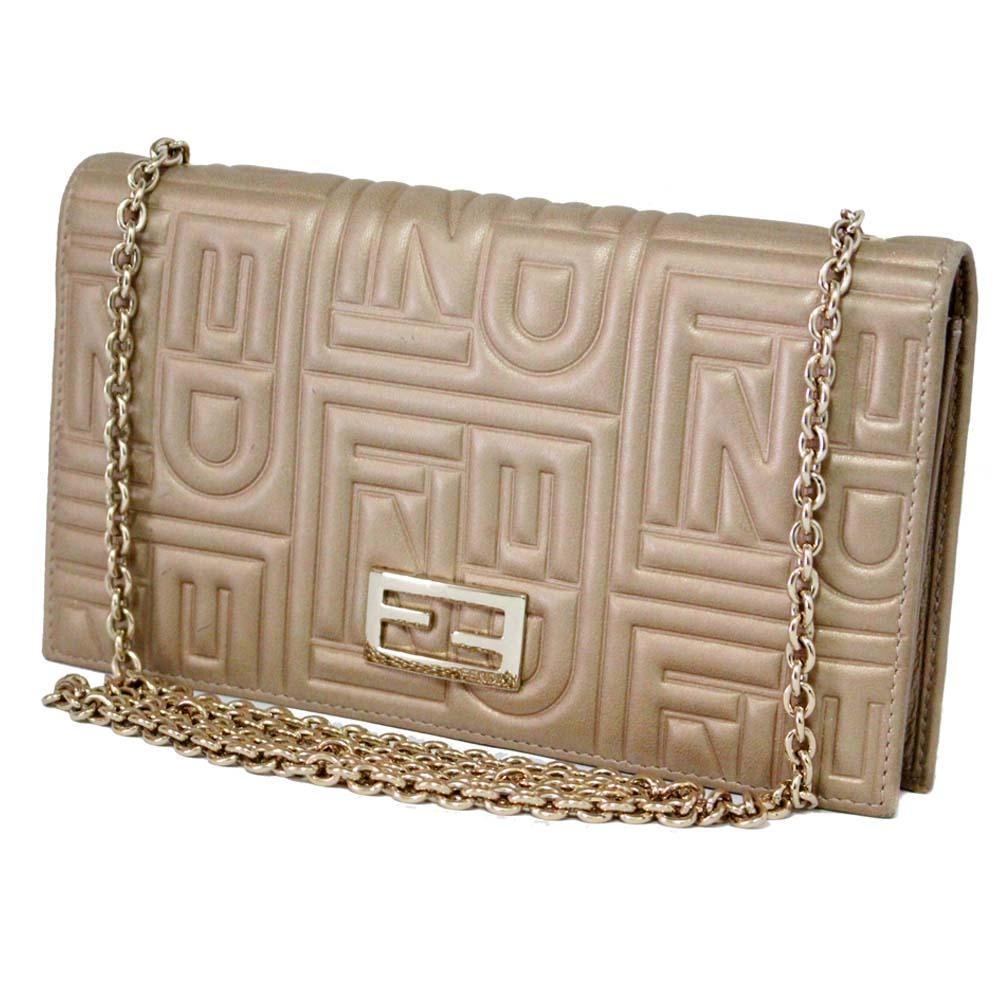 5f839d4043 Gold Eco  FENDI Fendi chain wallet long wallet Lady s gold leather ...