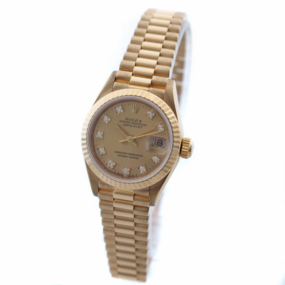 【中古】ROLEX ロレックス デイトジャスト 10Pダイヤ 腕時計 レディース 自動巻き シャンパン文字盤 ゴールド 69178G X番