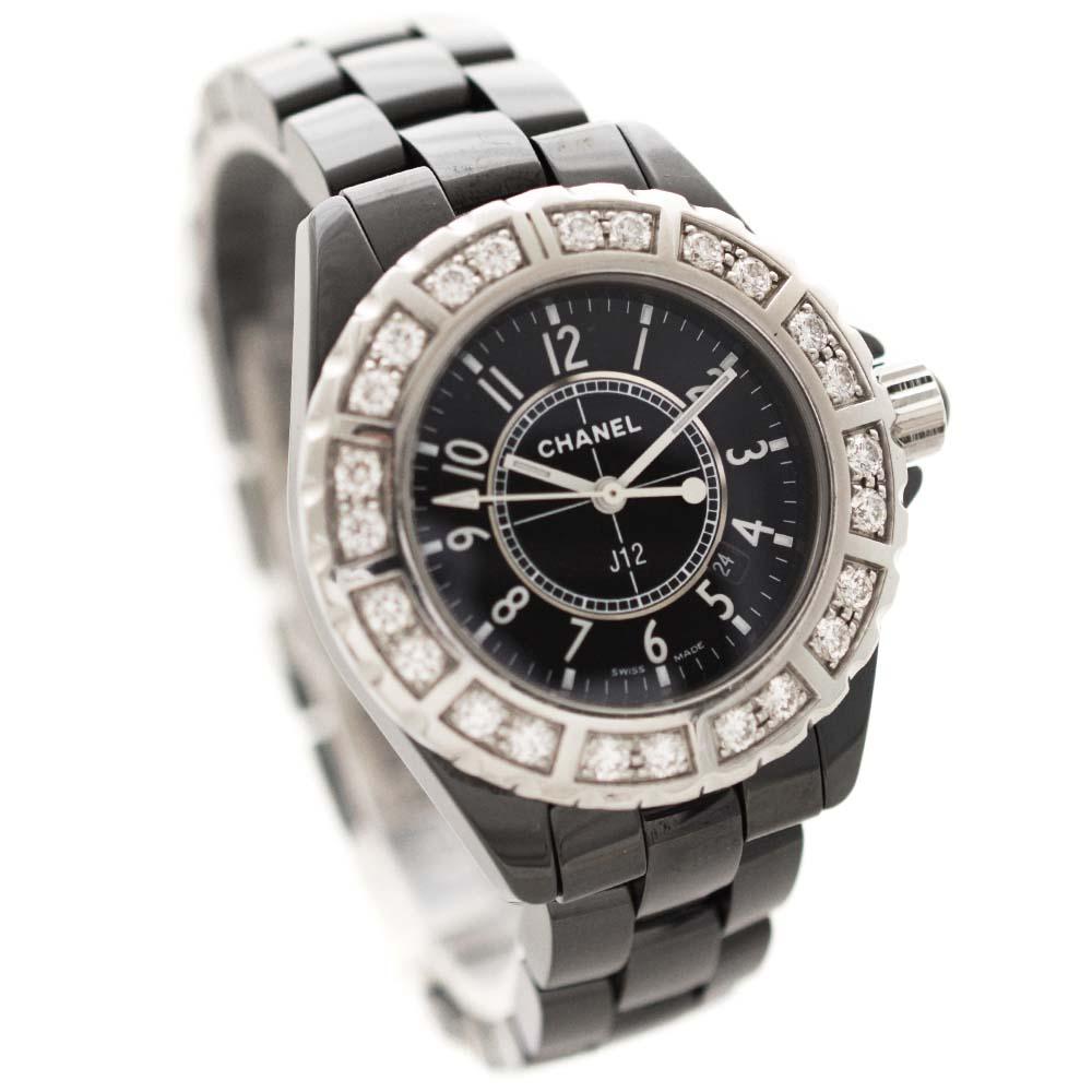 【中古】CHANEL シャネル J12 ベゼルラージダイヤ 腕時計 レディース クオーツ ブラック文字盤 ブラック シルバー H1173