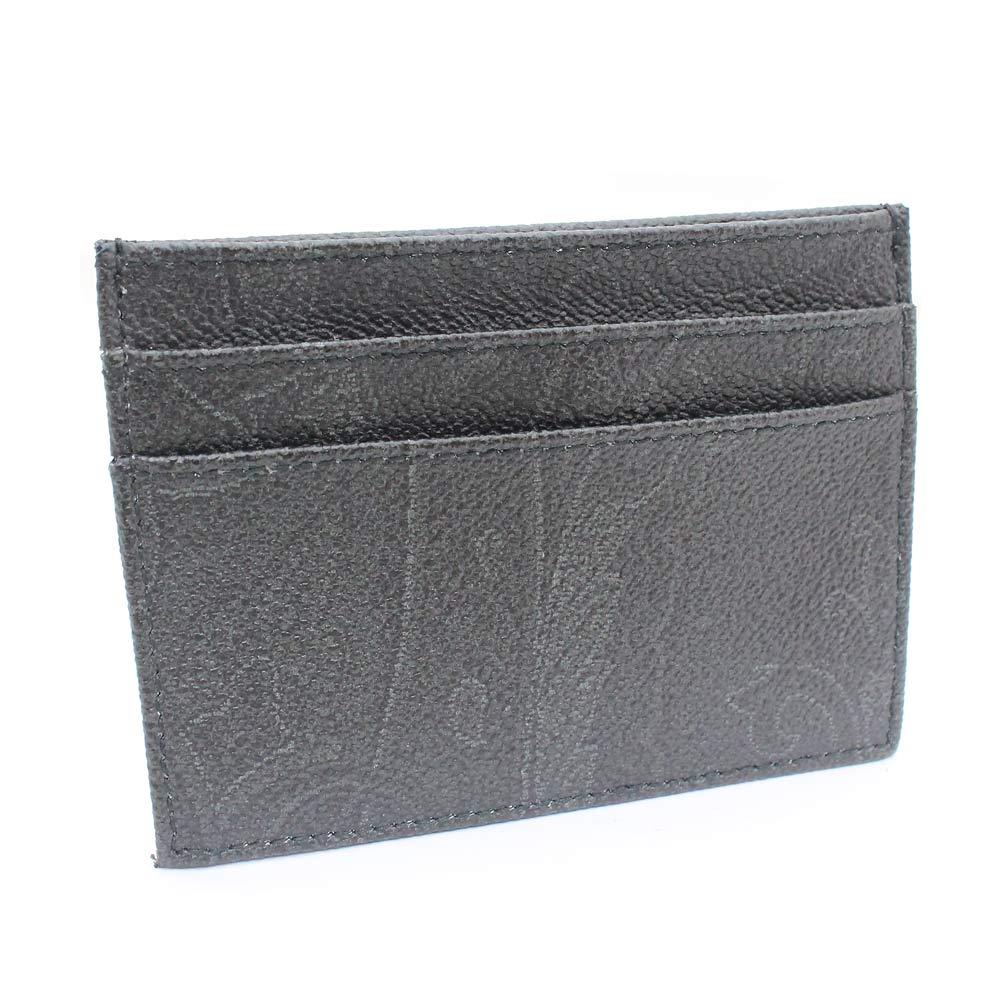 【中古】ETRO エトロ ペイズリー カードケース レディース ブラック PVC レザー
