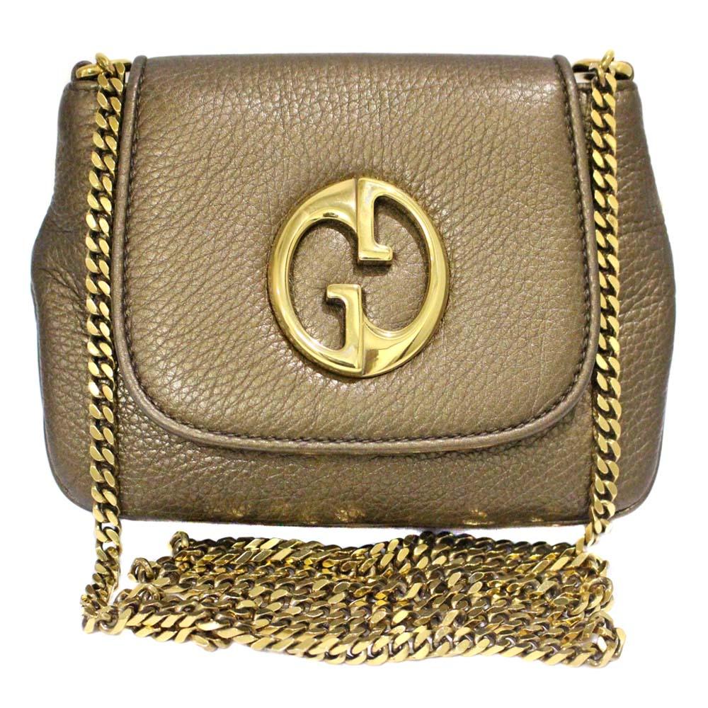 0dbaec514f8 GUCCI Gucci chain pochette double G shoulder bag Lady s bronze gold leather