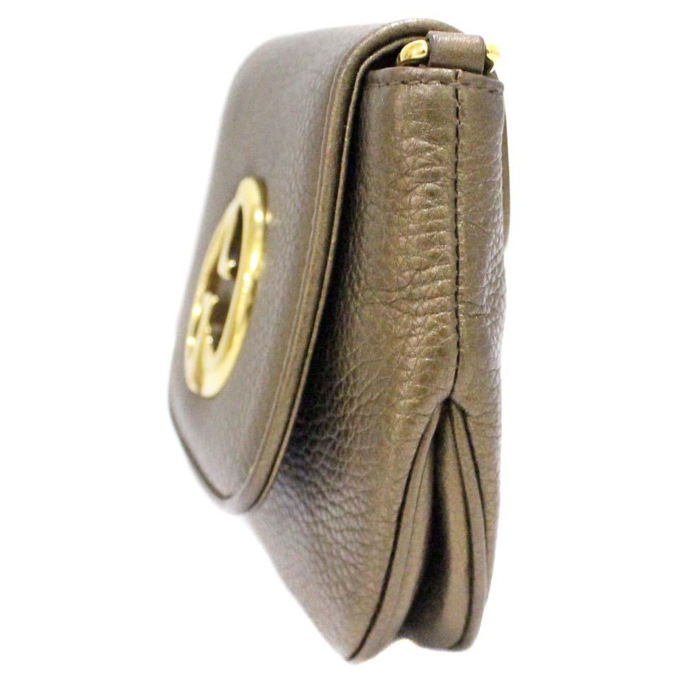 28276e731a ... GUCCI Gucci chain pochette double G shoulder bag Lady's bronze gold  leather ...