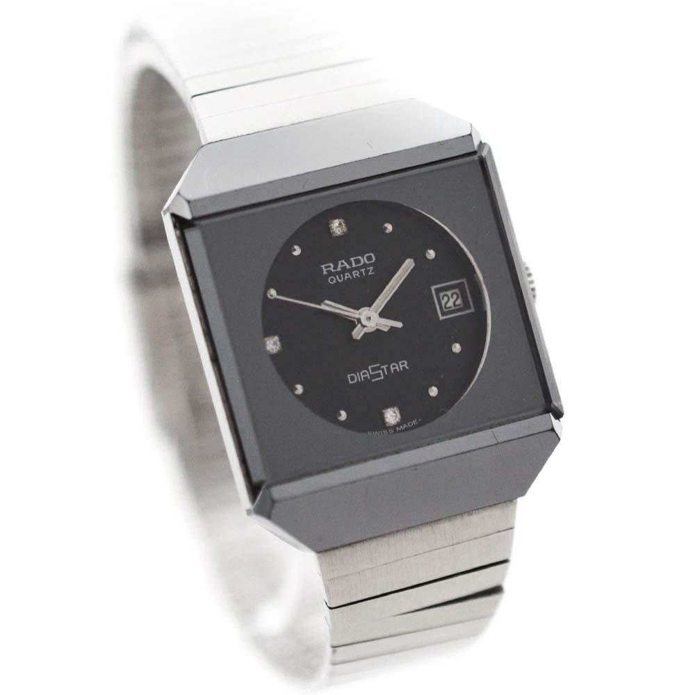 【中古】RADO ラドー ダイヤスター 腕時計 レディース クオーツ ブラック文字盤 シルバー 719.0069.3