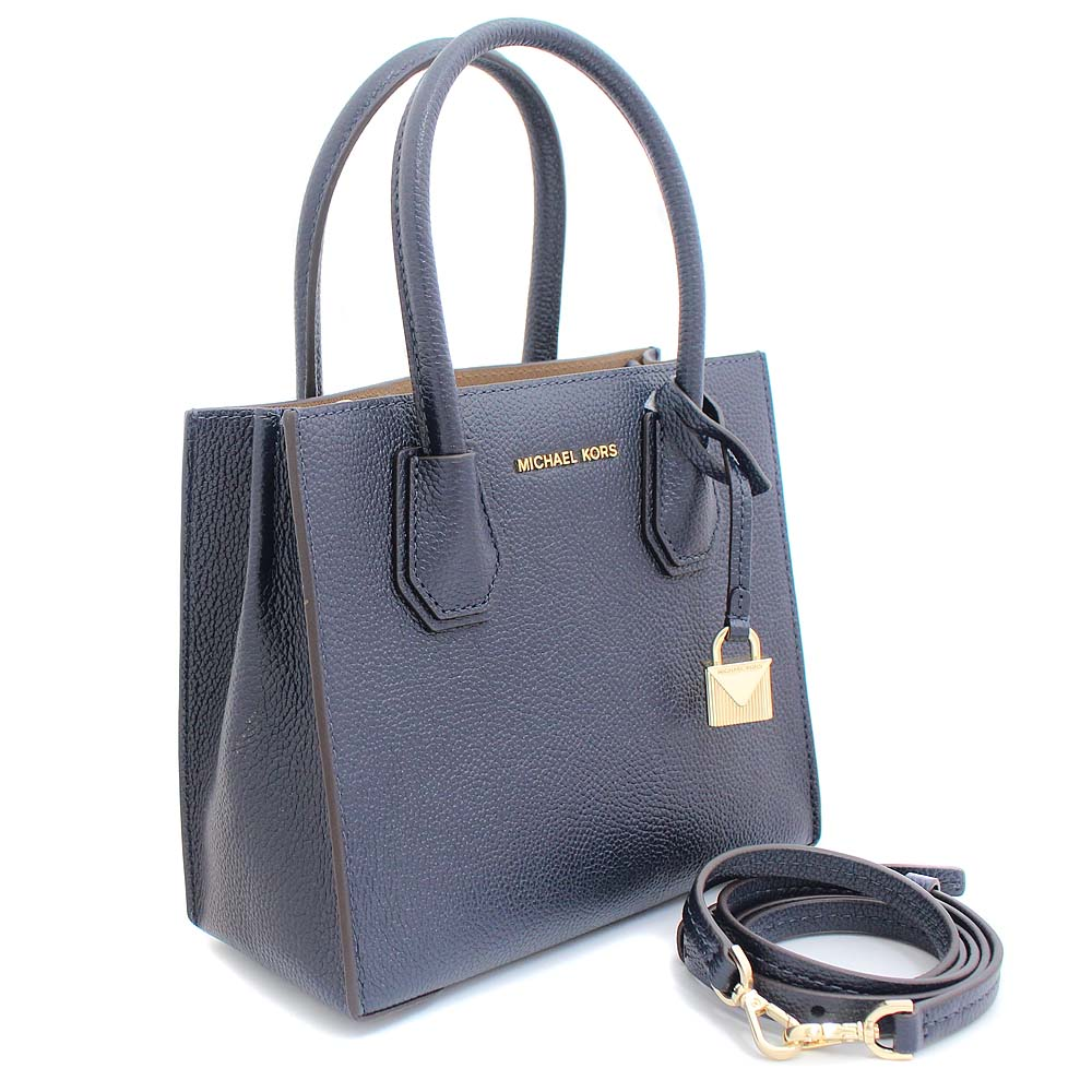 Michael Kors Mercer 2way Shoulder Bag Handbag Lady S Navy Leather 30f6gm9m2l