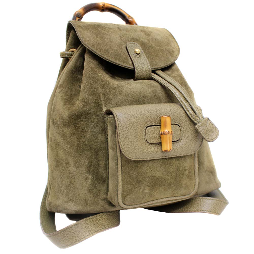 2e34ffad55d GUCCI Gucci bamboo rucksack day pack Lady s khaki suede cloth leather  003.8030.1705