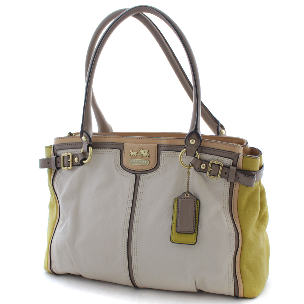Coach Madison Color Block Carry Oar Tote Bag Lady S Yellow Off White Leather 22701