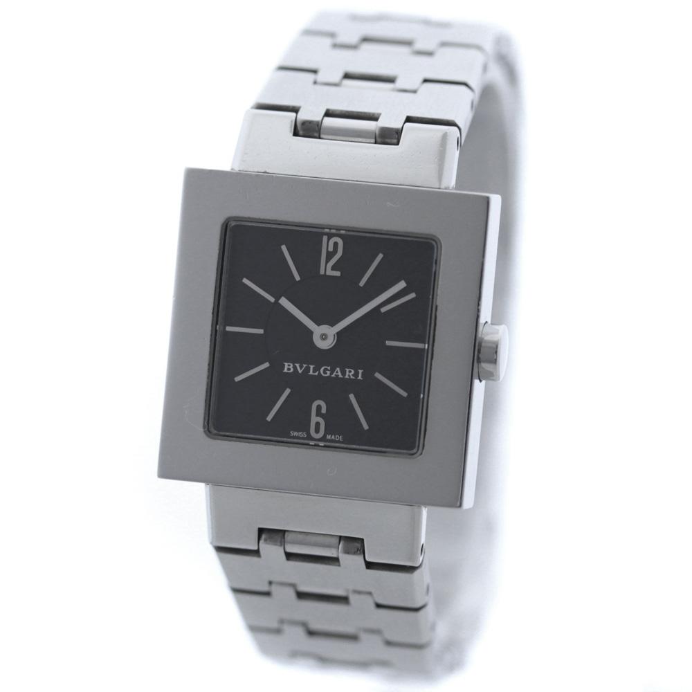 【中古】BVLGARI ブルガリ クアドラード 腕時計 レディース クオーツ ブラック文字盤 シルバー SQ22SS