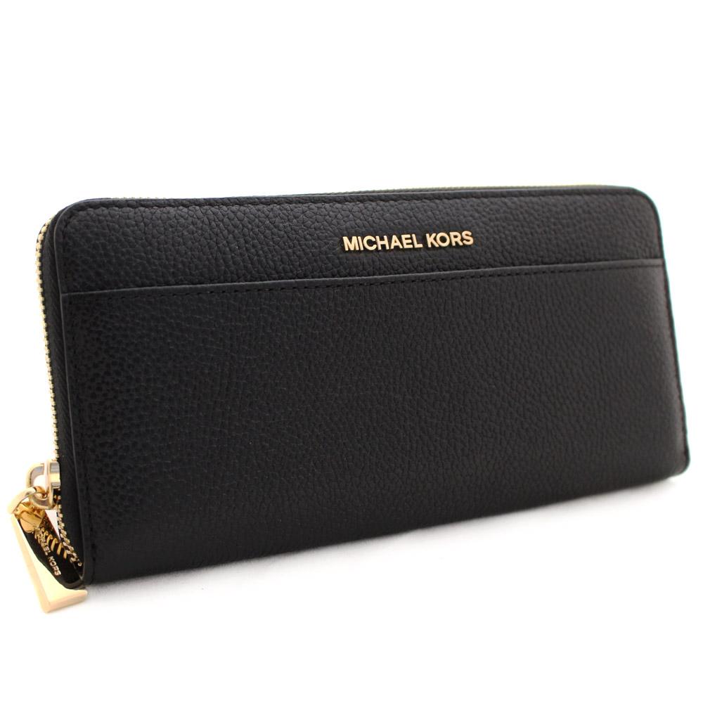 【中古】【美品】Michael Kors マイケルコース ロゴ ラウンドファスナー 長財布 レディース ブラック 型押しレザー 32S7GM9E9L