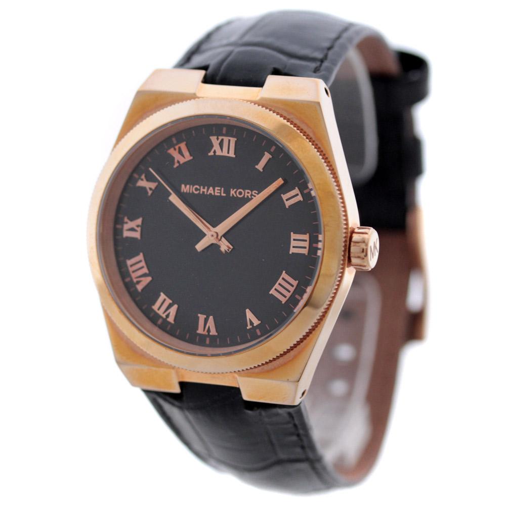 【中古】Michael Kors マイケルコース チャニング ボーイズサイズ 腕時計 レディース クオーツ ピンクゴールド ブラック MK2358