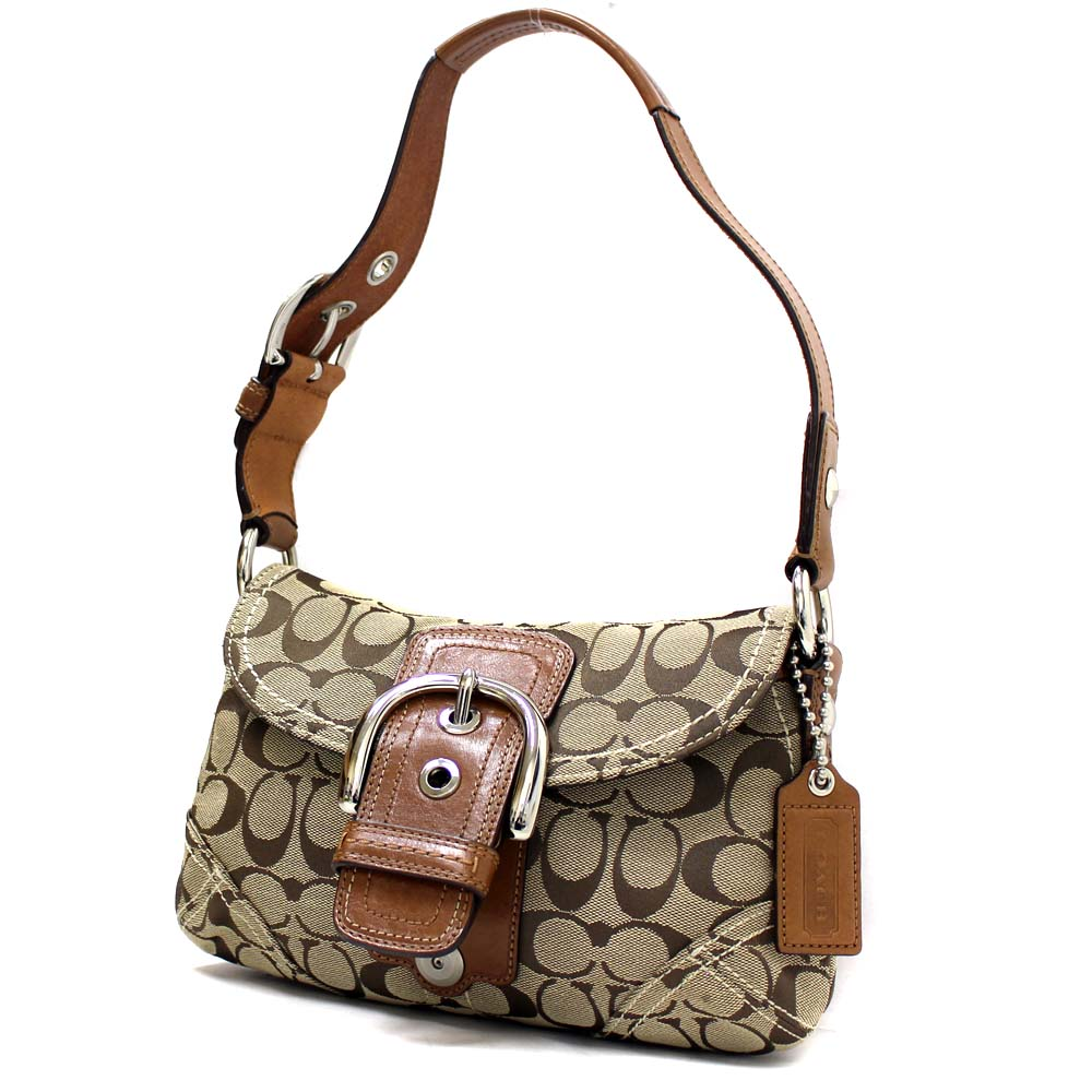 fb894ef235 COACH coach Soho Small signature shoulder bag Lady s beige canvas leather  F11860