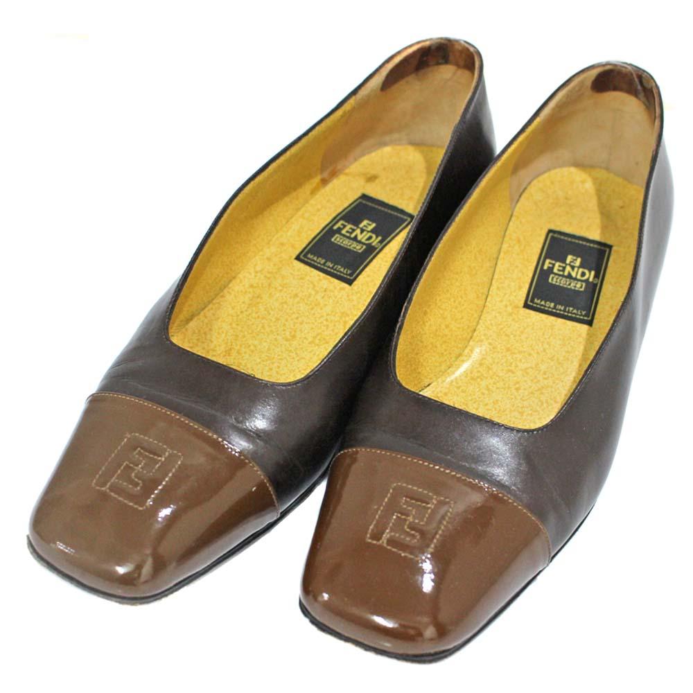 833d9a38167f FENDI Fendi vintage square toe pumps Lady s brown leather patent leather