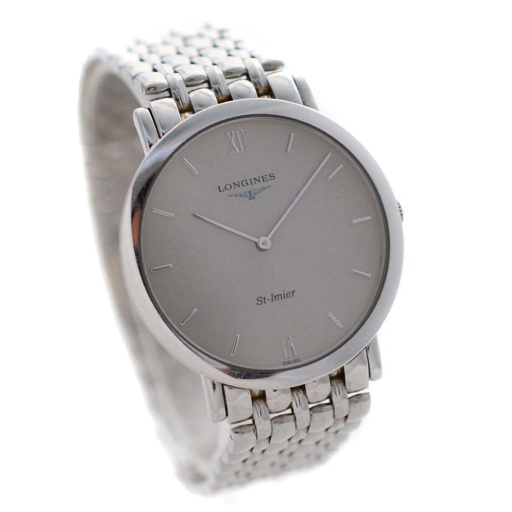 【中古】LONGINES ロンジン サンティミエ 腕時計 メンズ クオーツ シルバー文字盤 L4.710.6